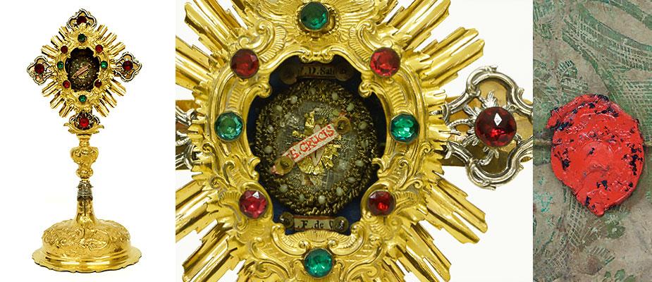 Reliquienmonstranz, in Messing, Kupfer getrieben, versilbert und feuervergoldet. Farbige Glassteine, die Rosetten aus Silber. Im Zentrum eine Reliquie, die Rückseite versiegelt. Maße: H 36 x B 14 x T 12 cm Bayern um 1750