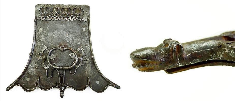 Gotisches Truhenschloss mit mit zusätzlichem drehbarem Verriegelungshriff. Die Enden der Beschlagplatte mit Drachenköpfen und Eicheln verziert. Am Deckelrand ein gotischer Stulpfries. Schlüssellochführung an den Enden mit Blattranken. Maße: H 30 x B 36 x T 6 cm Bayern um 1500 Vergl. M. Goerig Historische Schlösser Schlüssel Beschläge