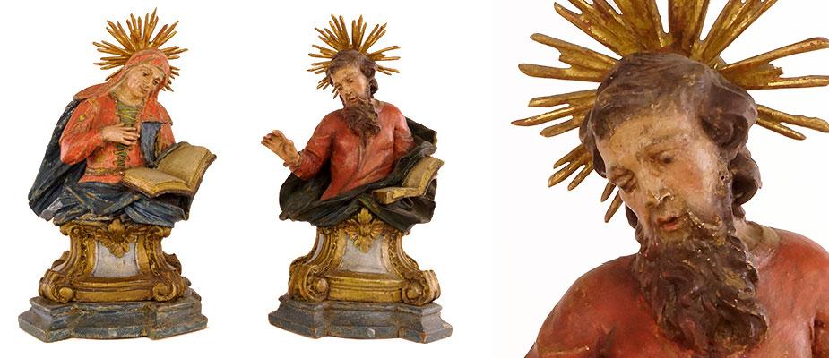 Skulpturen_HlAnna_HlJoachim Büsten Hl. Anna und Hl. Joachim, Lindenholz geschnitzt, polychrome originale Fassung. Die Figuren auf Rocailliensockel, auf Plinthe montiert. Maße: H 19 x B 11 x T 8 cm Süddeutsch, um 1700