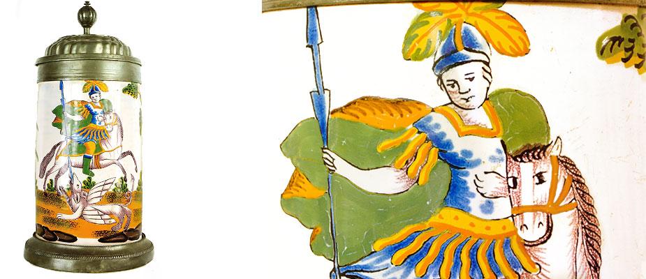 Fayence - Krug, Süddeutsch ( Bild fehlt ) Walzenkrug der gelben Familie Crailsheim. Weißglasur mit Hl. Georg zu Pferd, einen Drachen tötend. Zinfuß und Zinndeckel mit barockem gedrehten Knauf als Daumenrast. Maße: H 25 x Durchmesser Krug 12 cm Crailsheim, Franken 2. Hälfte 18. Jahrhundert